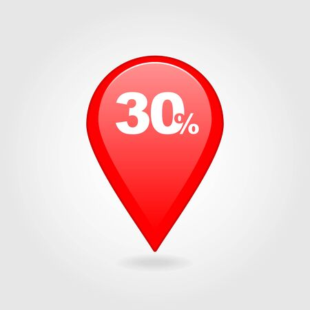 thirty: 30 thirty Percent Retail Sale Discount pin map icon. Map pointer, markers.