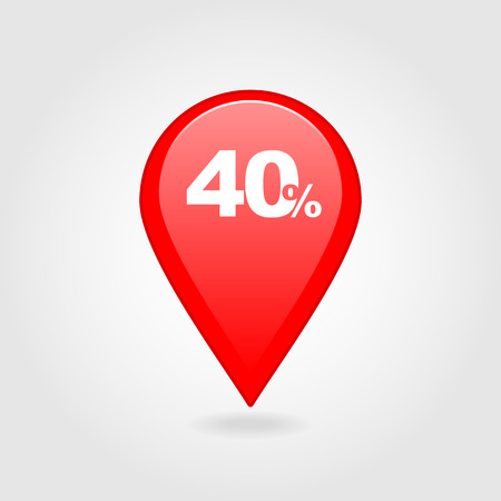 forty: 40 forty Percent Retail Sale Discount pin map icon. Map pointer, markers.