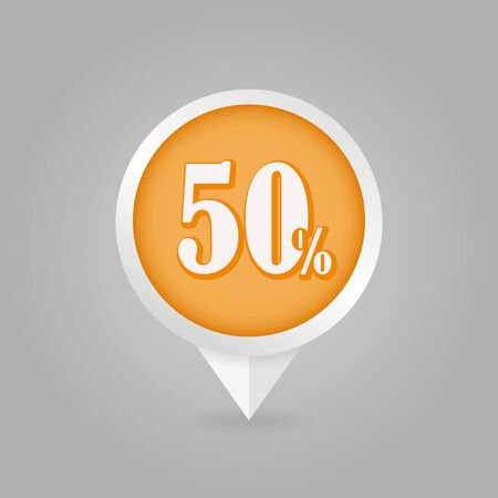 fifty: 50 fifty Percent Retail Sale Discount pin map icon. Map pointer, markers.