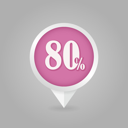 ochenta: 80 eighty Percent Retail Sale Discount pin map icon. Map pointer, markers.