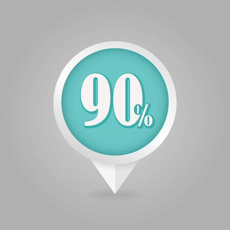 ninety: 90 ninety Percent Retail Sale Discount pin map icon. Map pointer, markers. Illustration