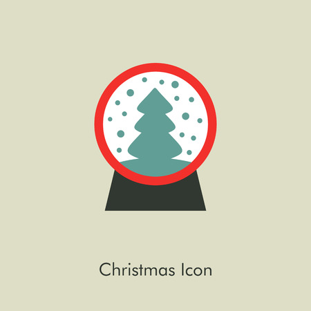 christmas snow globe: Christmas snow globe with a Christmas tree inside. Vector christmas snow dome. Illustration