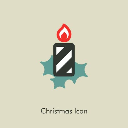 advent wreath: Christmas candle icon, vector illustration eps 10