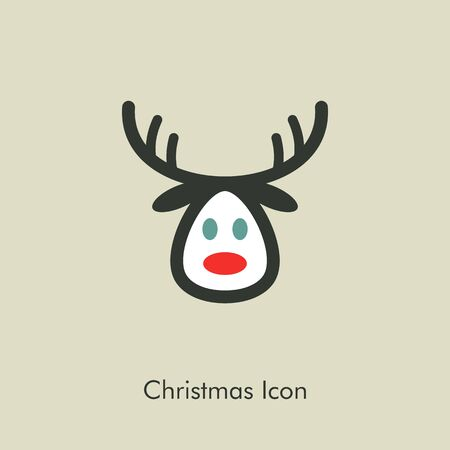 eps vector icon: Christmas reindeer icon, vector illustration eps 10 Illustration