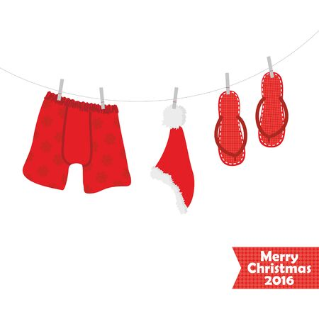 Christmas card with a picture of beach accessories, swimsuit, eps 10 Çizim