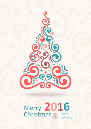 christmas tree illustration: Christmas Greeting Card. Christmas  tree. Merry Christmas lettering, vector illustration