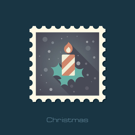 advent candles: Christmas candle flat stamp.