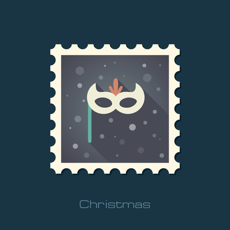 masque: Christmas festive mask flat stamp. Illustration