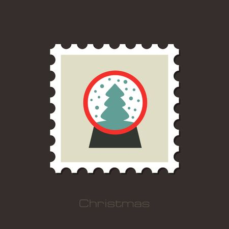 christmas snow globe: Christmas snow globe with a Christmas tree inside flat stamp.