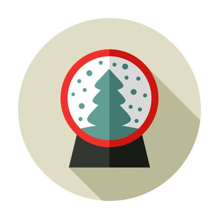 christmas snow globe: Christmas snow globe with a Christmas tree inside flat icon.