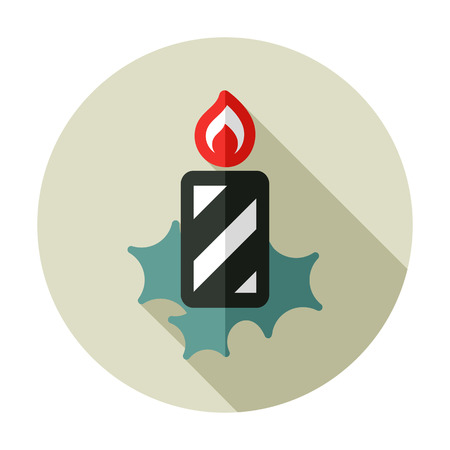 advent wreath: Christmas candle flat icon Illustration