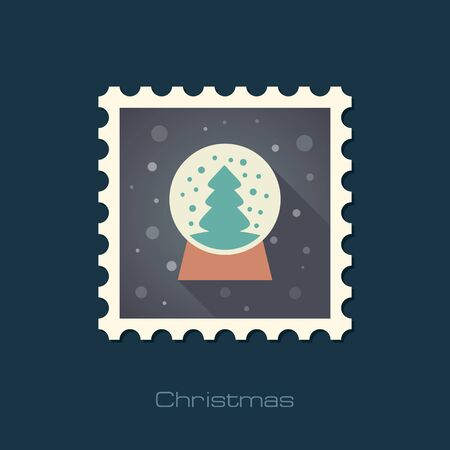 christmas snow globe: Christmas snow globe with a Christmas tree inside flat stamp.  Illustration
