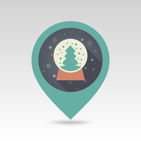 christmas snow globe: Christmas snow globe with a Christmas tree inside flat pin map icon. Map pointer. Map markers. Vector illustration. Vector christmas snow dome. Illustration