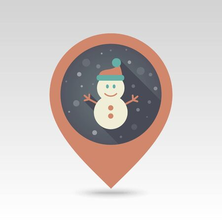map pin: Modern Snowman flat pin map icon. Map pointer. Map markers.