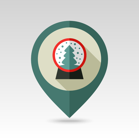 christmas snow globe: Christmas snow globe with a Christmas tree inside flat pin map icon. Map pointer. Map markers.  christmas snow dome. Illustration