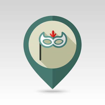 masque: Christmas festive mask flat pin map icon. Map pointer. Map markers.  Illustration