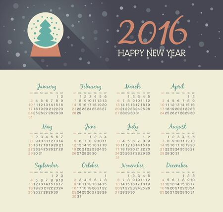 christmas snow globe: Calendar 2016 year with christmas snow globe  Illustration