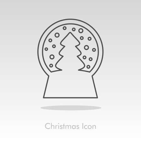christmas snow globe: Christmas snow globe with a Christmas tree inside icon. Vector christmas snow dome.