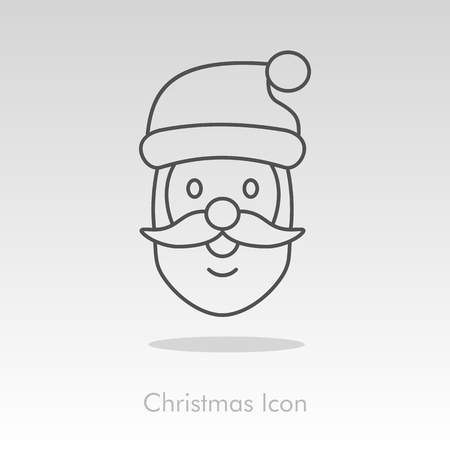 claus: Santa Claus face. Christmas icon, vector illustration
