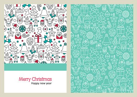 year greetings: Christmas Greeting Card. Happy New Year. Merry Christmas lettering, vector illustration Illustration