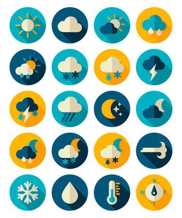 Meteorology Weather flat icons set Illustration