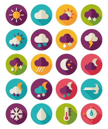 meteorology: Meteorology Weather flat icons set Illustration