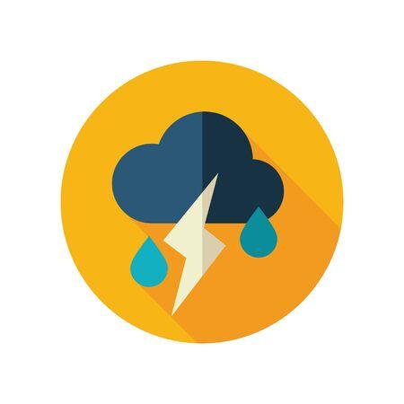 meteorology: Cloud Rain Lightning flat icon. Meteorology. Illustration