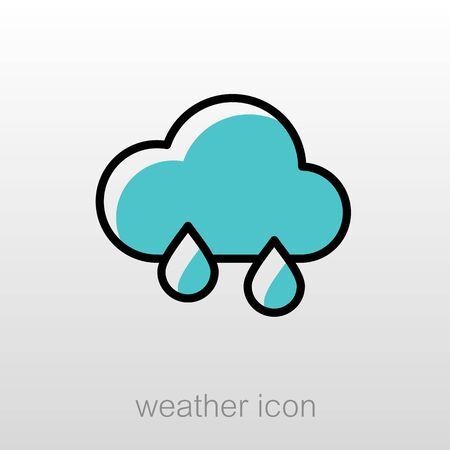 meteorology: Rain Cloud outline icon. Meteorology. Weather. Vector illustration