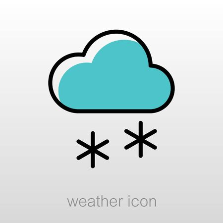 meteorology: Cloud with Snow outline icon. Meteorology. Weather. Vector illustration