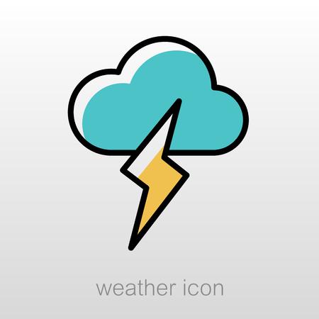 meteorology: Cloud Lightning outline icon. Meteorology. Weather. Vector illustration Illustration