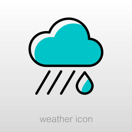 rainfall: RRain Cloud outline icon. Downpour, rainfall. Weather. Vector illustration