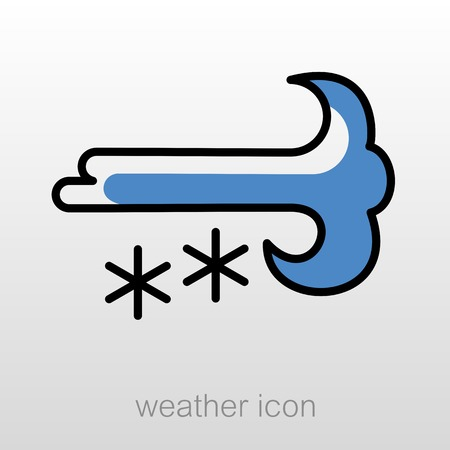 snowstorm: Wind Snow Snowstorm outline icon. Meteorology. Weather. Vector illustration eps 10 Illustration