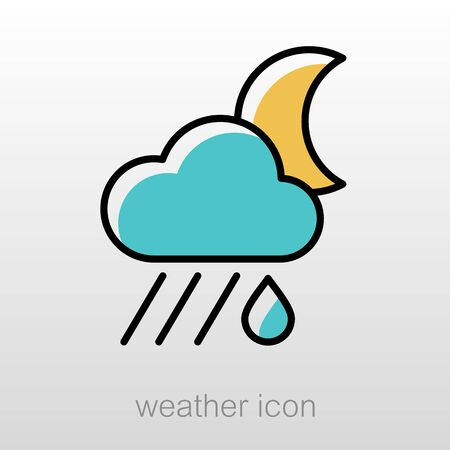 meteorology: Rain Cloud Moon outline icon. Sleep night dreams symbol. Meteorology. Weather. Vector illustration eps 10