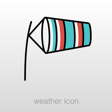 inflated: Windsocks inflated by wind at the airport runway. Meteorology. Weather. Vector illustration eps 10
