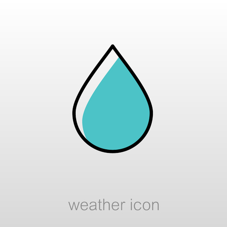 rain drop: Water Rain Drop outline icon. Meteorology. Weather. Vector illustration eps 10