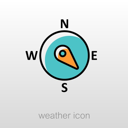 southeast: Compass wind rose outline icon. Direction southeast. Meteorology. Weather. Vector illustration eps 10 Illustration