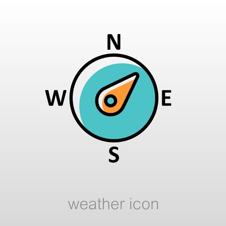 compass rose: Compass wind rose outline icon. Direction northeast. Meteorology. Weather. Vector illustration eps 10