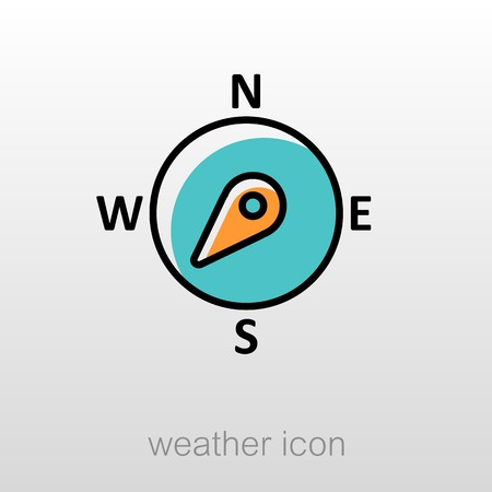 southwest: Compass wind rose outline icon. Direction southwest. Meteorology. Weather. Vector illustration eps 10 Illustration
