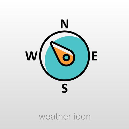 rosa vientos: viento rosa de los vientos icono del contorno. noroeste dirección. Meteorología. Clima. ilustración vectorial eps 10