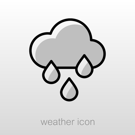 rainfall: Rain Cloud Rainfall outline icon. Meteorology. Weather. Vector illustration