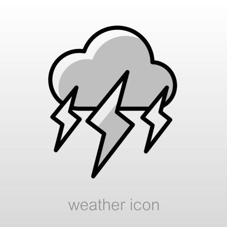 meteorology: Storm Cloud Lightning outline icon. Meteorology. Weather. Vector illustration