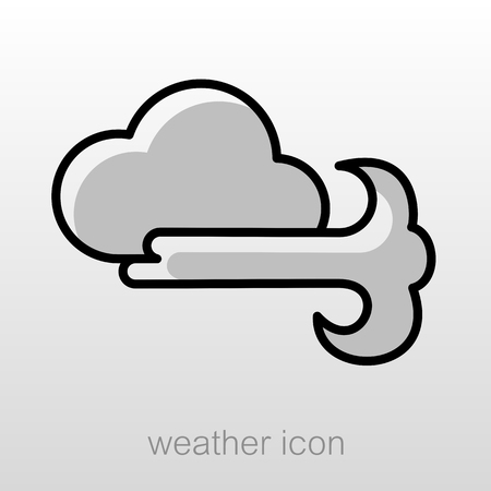 blows: Cloud blows Wind outline icon. Meteorology. Weather. Vector illustration