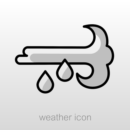 meteorology: Wind Rain outline icon. Meteorology. Weather. Vector illustration