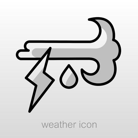 meteorology: Wind Rain Lightning outline icon. Meteorology. Weather. Vector illustration