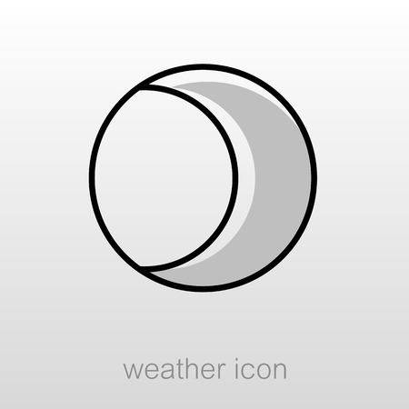 meteorology: Young Moon outline icon. Sleep night dreams symbol. Meteorology. Weather. Vector illustration Illustration