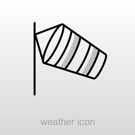 windsock: Windsocks hanging at the airport runway. Meteorology. Weather. Vector illustration