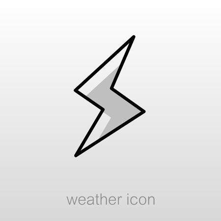 meteorology: Lightning outline icon. Meteorology. Weather. Vector illustration