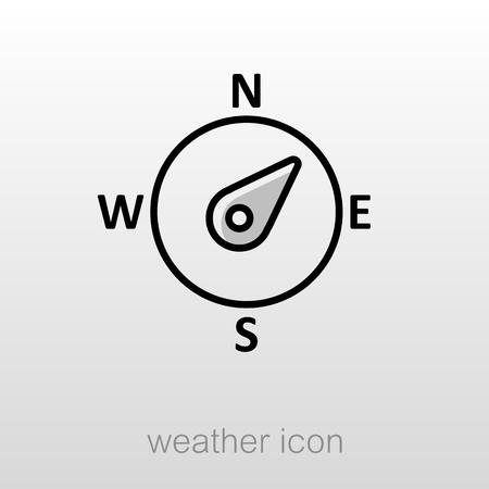wind rose: Compass wind rose outline icon. Direction northeast. Meteorology. Weather. Vector illustration Illustration