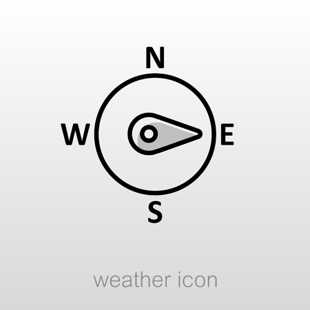 rosa vientos: viento rosa de los vientos icono del contorno. Dirección este. Meteorología. Clima. ilustración vectorial