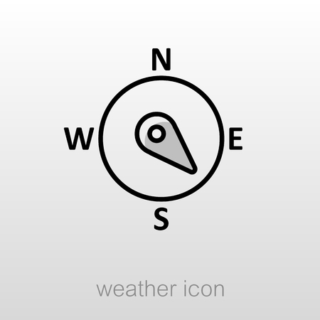 Compass Windrose Umriss-Symbol. Richtung Südosten. Meteorologie. Wetter. Vektor-Illustration
